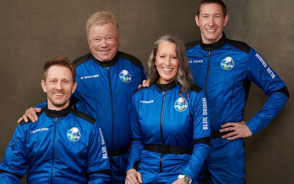Shatner, second from left, with his crew who will launch from the Texas desert - BLUE ORIGIN