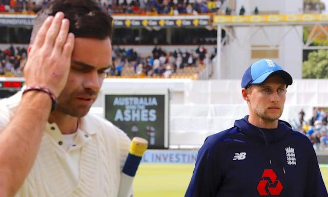 England captain Joe Root, with James Anderson after losing the Ashes series in Perth.