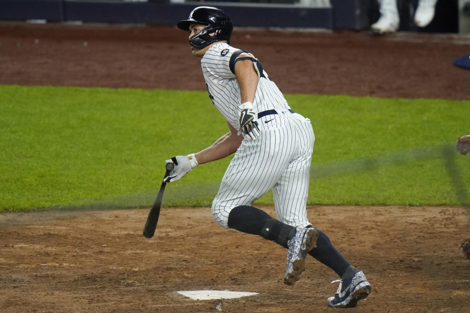 New York Yankees' Giancarlo Stanton hits an RBI double during the fifth inning of a baseball game against the Houston Astros Wednesday, May 5, 2021, in New York. (AP Photo/Frank Franklin II)