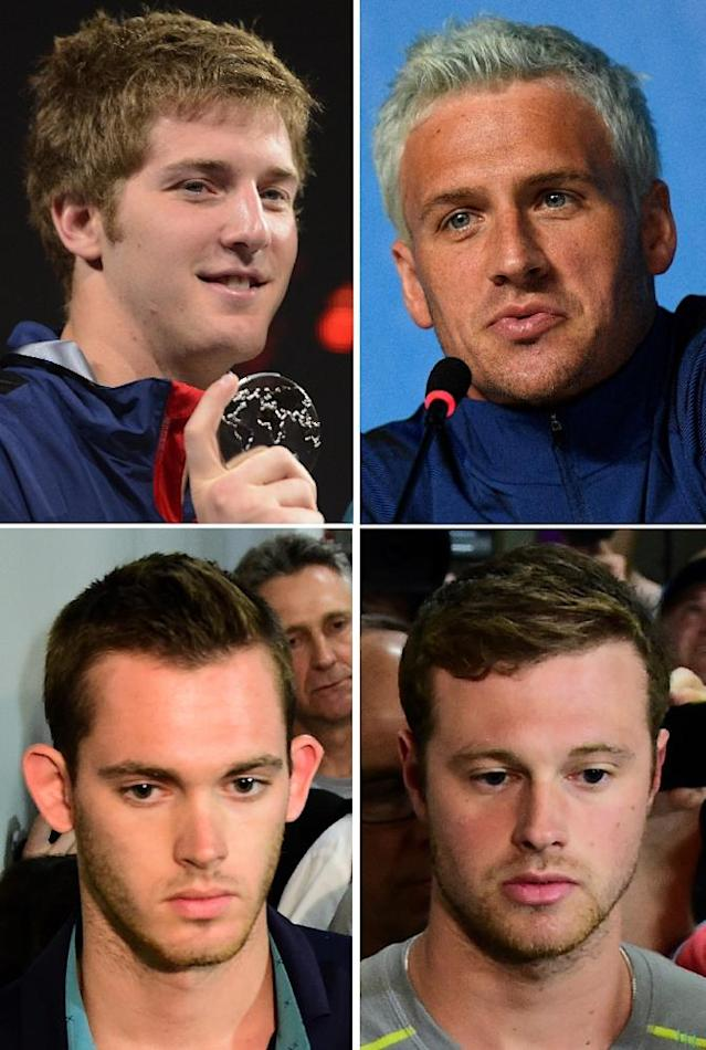 (Clockwise from top L) US swimmers James Feigen, Ryan Lochte, Jack Conger and Gunnar Bentz came under suspicion after details of their mugging story failed to add up (AFP Photo/)