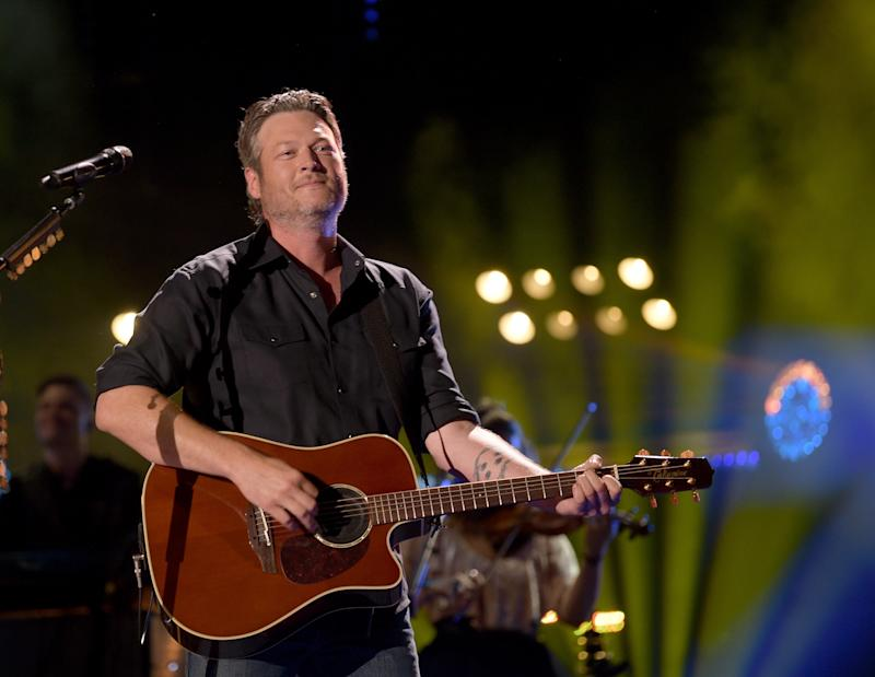 Blake Shelton during a steadier performance at the 2018 CMA Music Festival on June 8 in Nashville. (Jason Kempin via Getty Images)