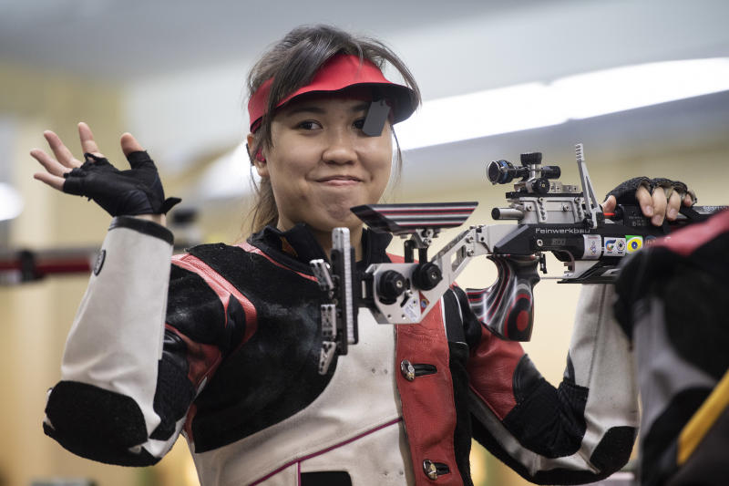 Singapore shooter Ho Xiu Yi earned a silver medal in the women's 10m air rifle competition at the SEA Games. (PHOTO: SNOC/Lim Weixiang)