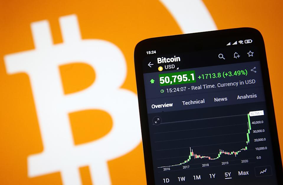 Bitcoin virtual crypto currency price is displayed on a phone screen in this photo. Bitcoin cryptocurrency a surge of over 50,000 $ US dollars for the first time, as media reported on 16 February 2021.  (Photo by STR/NurPhoto via Getty Images)