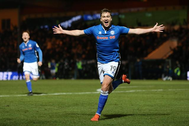 Rochdale's Steven Davies celebrates his late equalizer against Tottenham in the FA Cup. (Getty)
