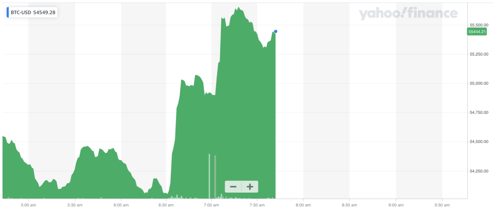 Bitcoin spiked after Elon Musk's tweet. Photo: Yahoo Finance UK