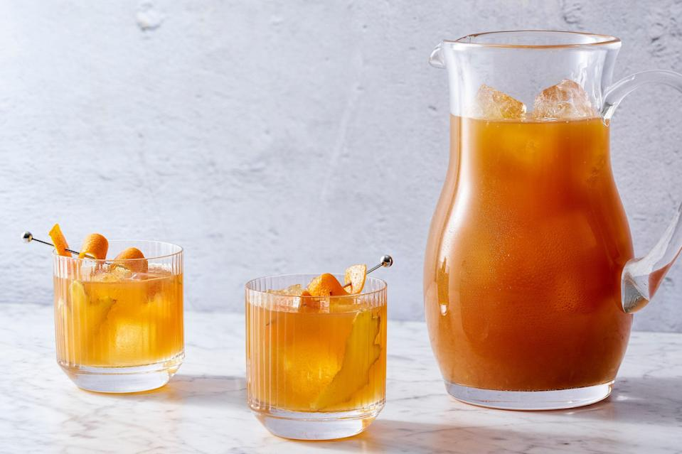 """Make it a boozy picnic with this riff on the classic hot cocktail—it has all the spice of a wintery toddy with all the refreshing """"ahhhh"""" of iced sweet tea. <a href=""""https://www.epicurious.com/recipes/food/views/cold-toddy?mbid=synd_yahoo_rss"""" rel=""""nofollow noopener"""" target=""""_blank"""" data-ylk=""""slk:See recipe."""" class=""""link rapid-noclick-resp"""">See recipe.</a>"""
