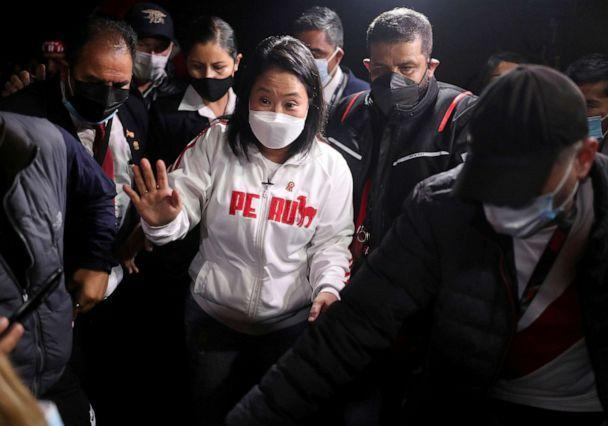 PHOTO: Peru's presidential candidate Keiko Fujimori, center, arrives at a local beach to meet with supporters, in Lima, Peru, July 7, 2021. (Sebastian Castaneda/Reuters)