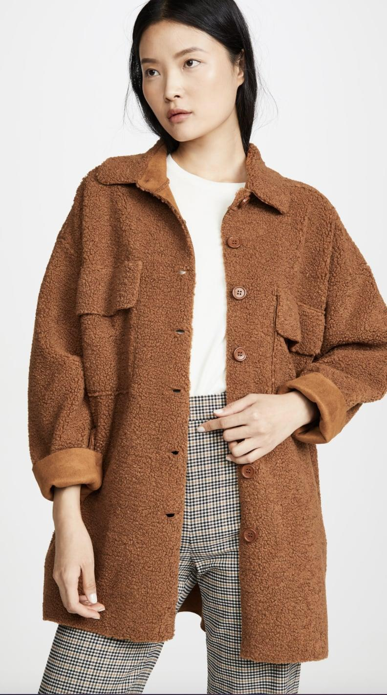 <p>We love the color of this effortlessly cool <span>Moon River Midi Button Front Jacket</span> ($49, originally $163).</p>
