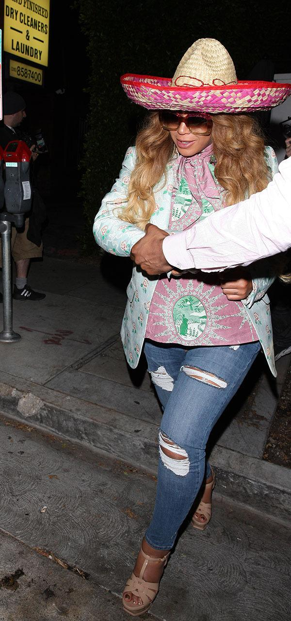 <p>Um … even a sombrero during dinner with Kelly Rowland on Cinco de Mayo. So maybe this one was a little off the typical Bey showcase, so that's why we appreciate it a little more. (Photo: SplashNews) </p>