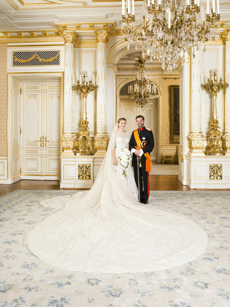 Crown Prince Guillaume of Luxembourg and Princess Stephanie of Luxembourg pose for the official wedding picture after the their wedding in Luxembourg