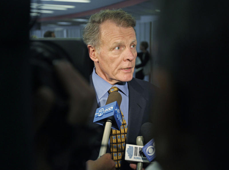 Illinois House Speaker Michael Madigan speaks with reporters, Wednesday, June 6, 2012, in Chicago after top Illinois lawmakers met with Gov. Pat Quinn to talk about pension reform. The lawmakers left the meeting divided over what approach to take. They were close to agreement last week, but that was derailed shortly before the end of the legislative session. The biggest dispute is over whether to make downstate and suburban Chicago schools take over the cost of employee pensions. Illinois pays those expenses now. (AP Photo/M. Spencer Green)