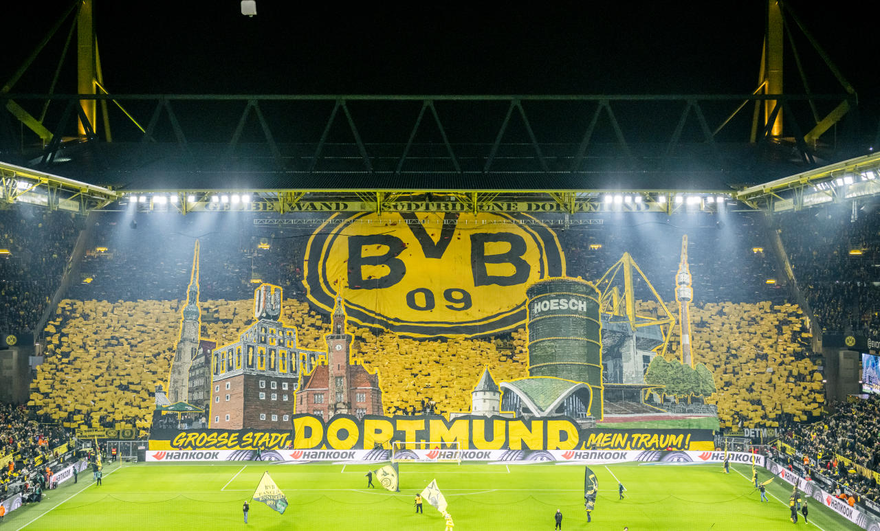 DORTMUND, GERMANY - FEBRUARY 14: Dortmund's supporters of the south stands (Suedtribuene) present a choreography ahead of kick off the Bundesliga match between Borussia Dortmund and Eintracht Frankfurt at Signal Iduna Park on February 15, 2020 in Dortmund, Germany. (Photo by Alexandre Simoes/Borussia Dortmund via Getty Images)