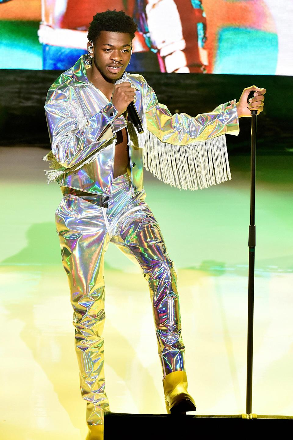 It takes a special kind of person to mix fringe with metallic, but he nailed it. (Of course.)