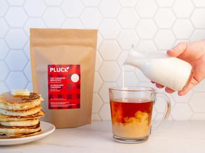 """Pluck Tea's Canadian Breakfast Tea gives back with every sip! $2 from the purchase of every package is donated to Breakfast Club of Canada.  """"When you buy The Canadian Breakfast, you buy Canadians breakfast."""" This premium black tea is blended and packed in Toronto, and pairs perfectly with your next stack of pancakes. (CNW Group/Pluck Tea Inc.)"""