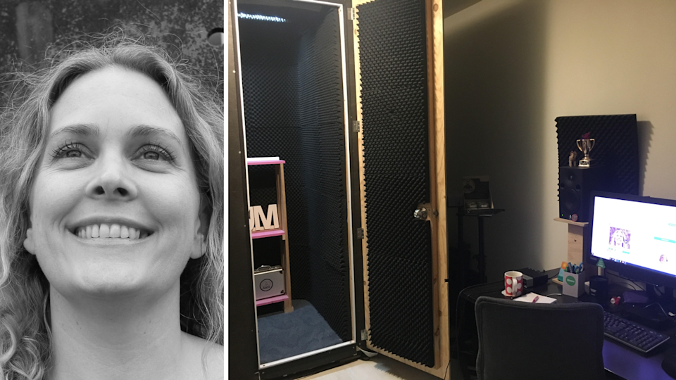 Left: A photo of Sue McLachlan; right: a photo of her home studio.