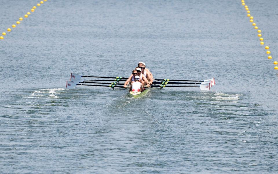 Team GB men's eight trailed in third of three boats in their heat - AFP