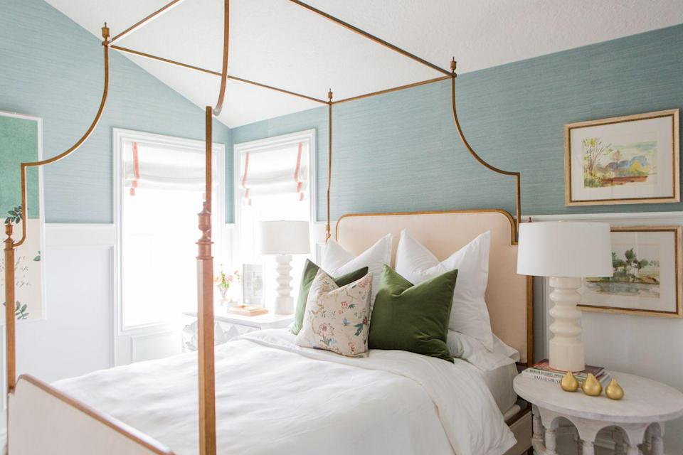 <p>We wanted the Master Bedroom in the Hartford Model to make a statement, but also wanted to create a soothing and calm retreat. It wasn't the largest room so we wanted to take advantage of the vaulted ceilings. The brass canopy bed frame was the perfect fit! And using the grasscloth wallpaper added just enough texture to the white molding. mint grasscloth - Thibaut Shang Extra Fine Sisal Mineral T41168</p><p><br>Kristen Kranson, co founder of House of Jade Interiors</p>