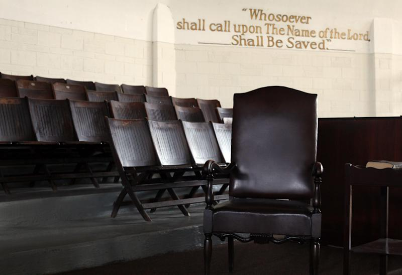The chair that Malcolm X sat on at King Solomon Baptist Church. In November 1963, he delivered one of his most noted speeches there.