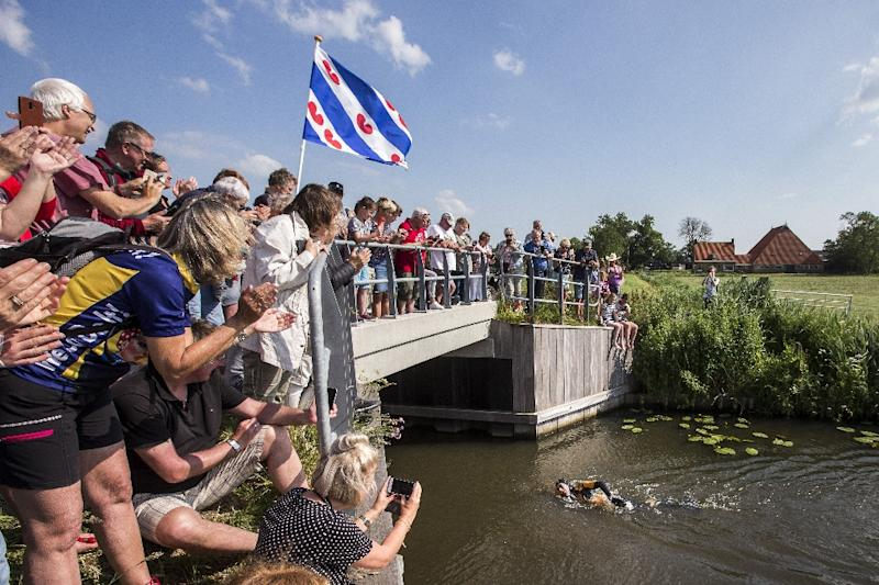 He passed the 172-kilometre mark of the course that criss-crosses northern Friesland province on Monday morning (AFP Photo/Vincent Jannink)
