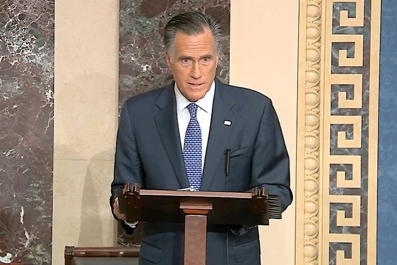 Sen. Mitt Romney addresses the Senate on Wednesday. | AP/Shutterstock
