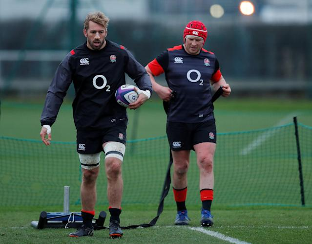 Rugby Union - England Training - Latymer Upper School, London, Britain - February 14, 2018 England's Chris Robshaw and Dylan Hartley during training Action Images via Reuters/Andrew Couldridge