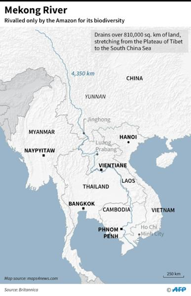 Map of Mekong River, the longest in Southeast Asia, 7th longest in Asia, and 12th longest in the world
