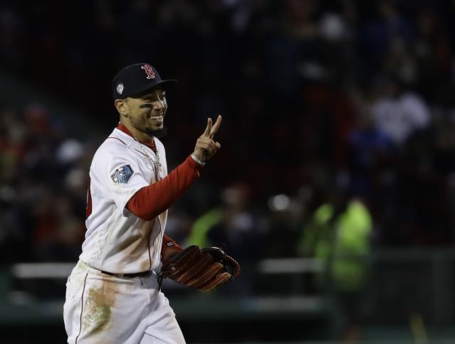 "<a class=""link rapid-noclick-resp"" href=""/mlb/players/9552/"" data-ylk=""slk:Mookie Betts"">Mookie Betts</a> is a star both on the field and off of it. (AP Photo/Charles Krupa)"