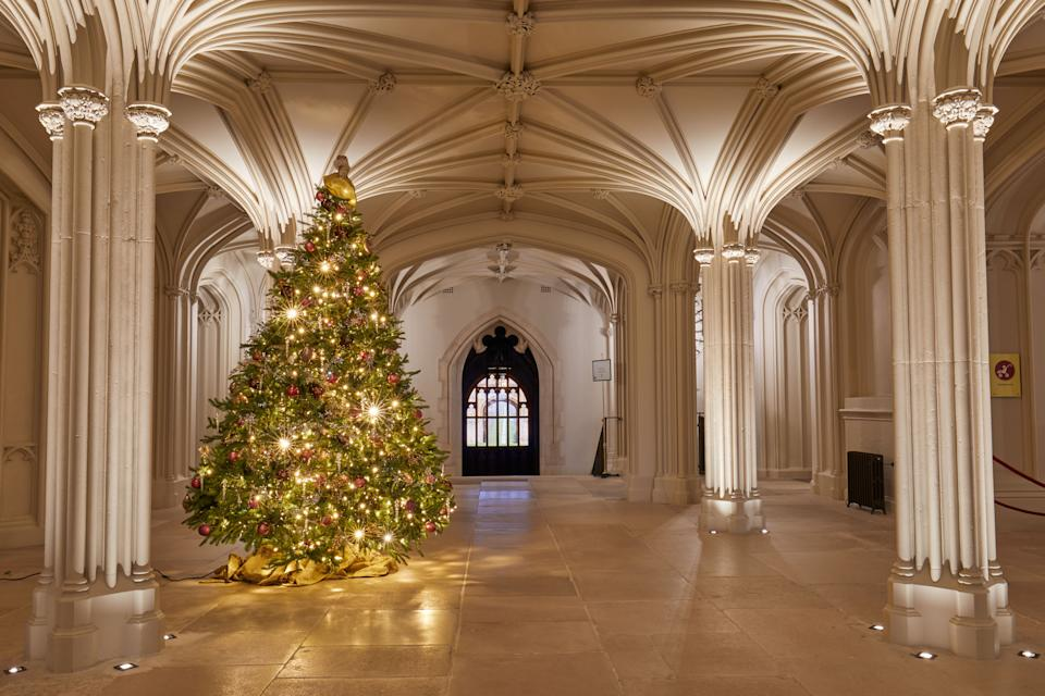 For single use only in relation to the Christmas displays at Windsor Castle in 2020, not to be archived, sold on or used out of context. Undated handout photo issued by the Royal Collection Trust of a Christmas tree in Windsor CastleÕs Inner Hall.