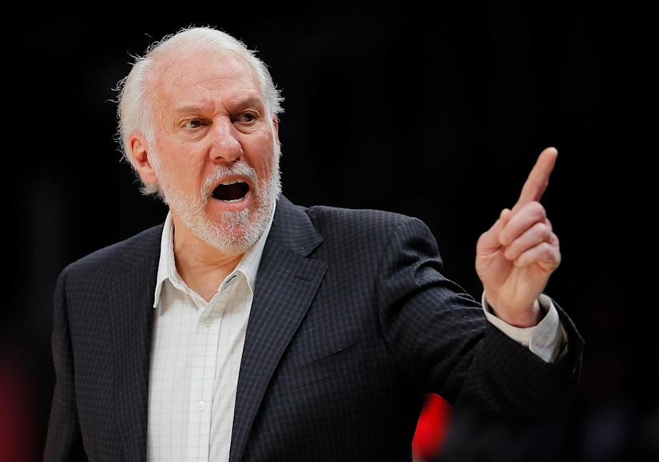 Spurs head coach Greg Popovich didn't hold back when talking about Donald Trump's response to the protests that have sprung up in response to the death of George Floyd in police custody. (Photo by Kevin C. Cox/Getty Images)