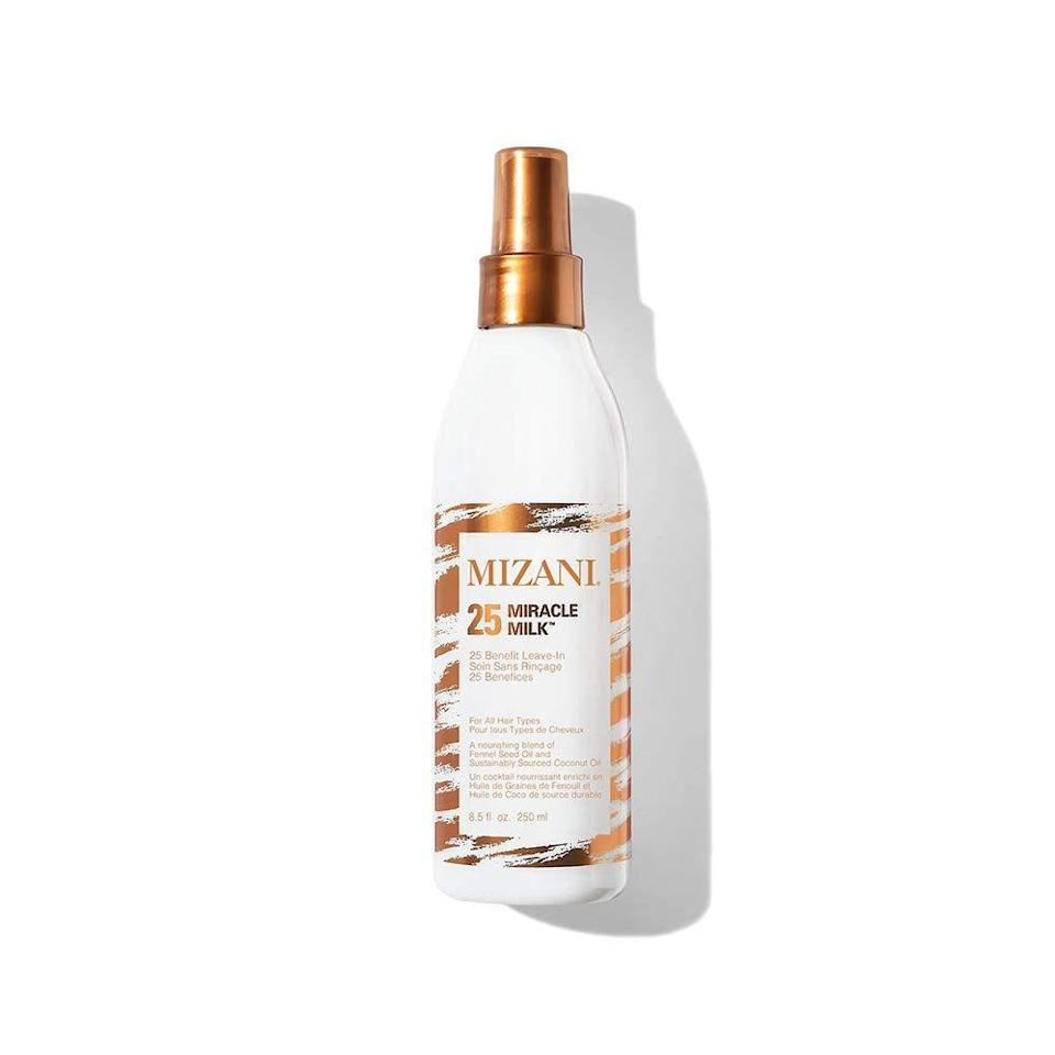 """<p>Every curl pattern needs a good detangaler and this it. Designed for every type of curl this 25 ingredient leave-in primes hair for heat styling while also leaving curls with a frizz-free finish. </p><p><a class=""""link rapid-noclick-resp"""" href=""""https://www.amazon.com/MIZANI-Miracle-Milk-Leave-Conditioner/dp/B00XXO2K4O/ref=sr_1_3?dchild=1&keywords=25+Miracle+Milk+Leave-In+Conditioner&qid=1626886604&sr=8-3&tag=syn-yahoo-20&ascsubtag=%5Bartid%7C10065.g.37036119%5Bsrc%7Cyahoo-us"""" rel=""""nofollow noopener"""" target=""""_blank"""" data-ylk=""""slk:Shop Now"""">Shop Now</a></p>"""