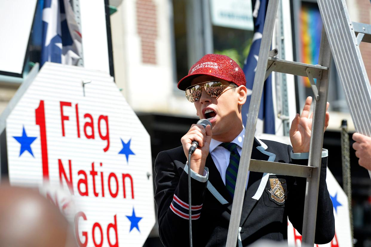 Parade Marshall and far-right political commentator Milo Yiannopoulos speaks during the