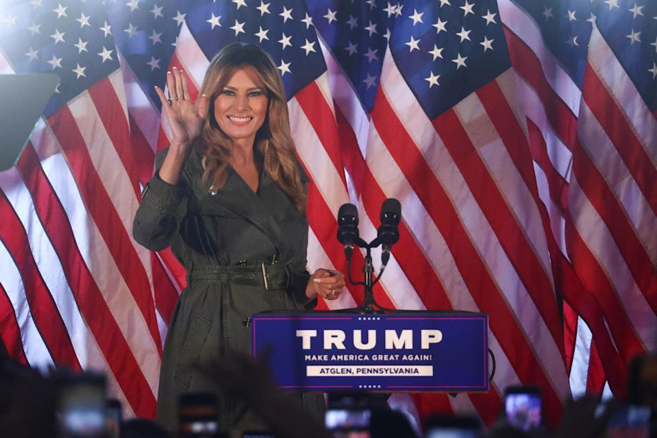 First Lady Melania Trump waves during the campaign event in Atglen, Pennsylvania: REUTERS