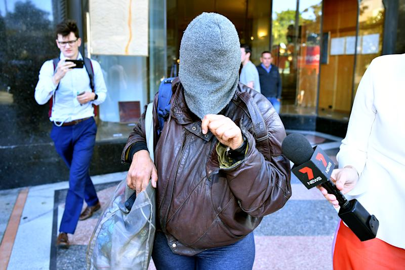 Pictured is one of the sisters, Liana Bobolas leaves the Downing Centre Local Court in Sydney, Tuesday, October 22, 2019. Source: AAP Image.