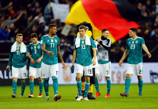 Soccer Football - International Friendly - Germany vs Spain - ESPRIT arena, Dusseldorf, Germany - March 23, 2018 Germany's Jerome Boateng and Thomas Mueller after the match REUTERS/Thilo Schmuelgen