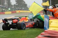Perez made it as far as La Combe on his out lap before aquaplaning (AFP/Kenzo Tribouillard)