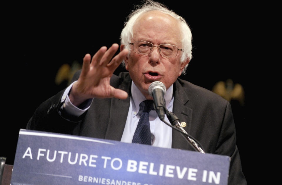 """Photo by: Dennis Van Tine/STAR MAX/IPx 4/8/20/20 Bernie Sanders has dropped out of the 2020 Presidential Race. STAR MAX File Photo: 6/23/16 Bernie Sanders gives his """"Where We Go From Here"""" Speech at a rally at Town Hall in New York City."""