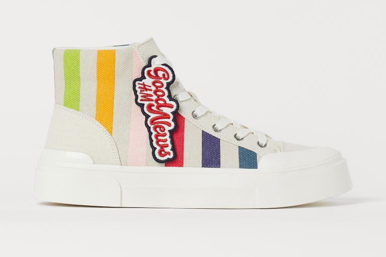 H&M x Good News canvas high-top sneakers. - Credit: Courtesy of H&M