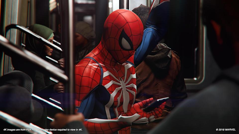 Spider-Man rides the subway just like normal people.