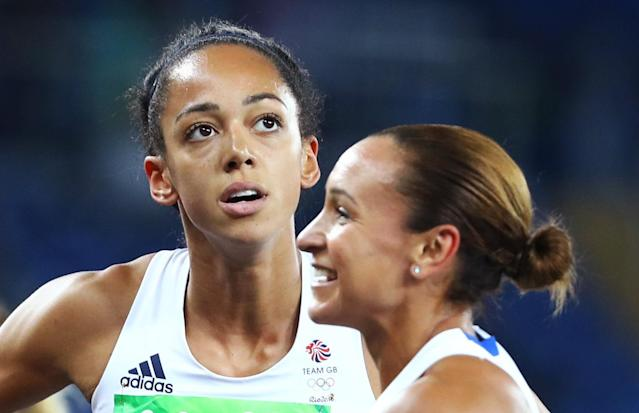 2016 Rio Olympics - Athletics - Women's Heptathlon 800m - Olympic Stadium - Rio de Janeiro, Brazil - 13/08/2016. Jessica Ennis-Hill (GBR) of Britain (R) and Katarina Johnson-Thompson (GBR) of Britain. REUTERS/Lucy Nicholson FOR EDITORIAL USE ONLY. NOT FOR SALE FOR MARKETING OR ADVERTISING CAMPAIGNS.
