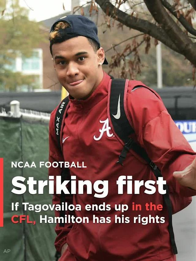 On the off-chance Tua Tagovailoa ends up in the CFL, Hamilton has his rights
