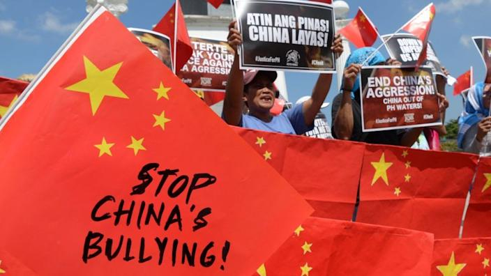 """A 2019 protest in Manila in the Philippines against Chinese """"aggression"""" in the South China Sea"""