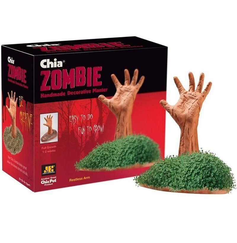 """<p><strong>Chia</strong></p><p><strong>$9.98</strong></p><p><a href=""""https://www.amazon.com/Chia-CP134-01-Zombie-Restless-Arm/dp/B00MPIFHJY?tag=syn-yahoo-20&ascsubtag=%5Bartid%7C10054.g.12222340%5Bsrc%7Cyahoo-us"""" rel=""""nofollow noopener"""" target=""""_blank"""" data-ylk=""""slk:Buy"""" class=""""link rapid-noclick-resp"""">Buy</a></p><p>Some people will always favor spookiness over winter holiday charm. And a zombie hand rising from a bed of squishy green plants is definitely spooky. </p>"""