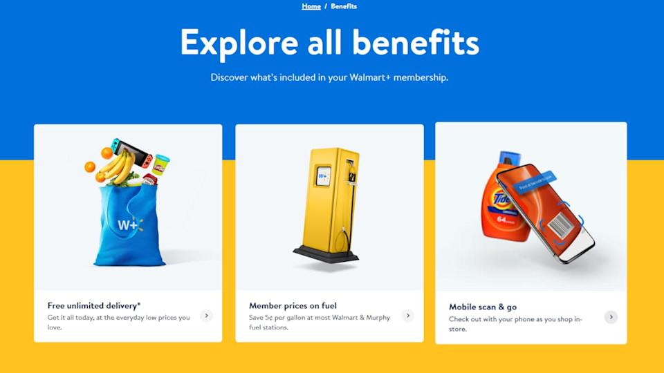 Walmart Plus offers Mobile Scan and Go, free delivery on groceries and fuel discounts. (Photo: Walmart.com)