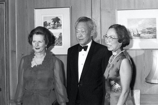 Lee Kuan Yew and his wife at 10 Downing Street with Margaret Thatcher (Archive/PA)