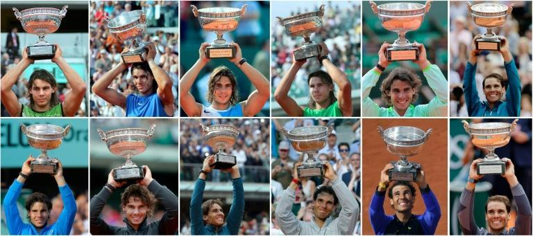 Twelve of the best: Rafael Nadal poses with the French Open trophy after all of his title wins