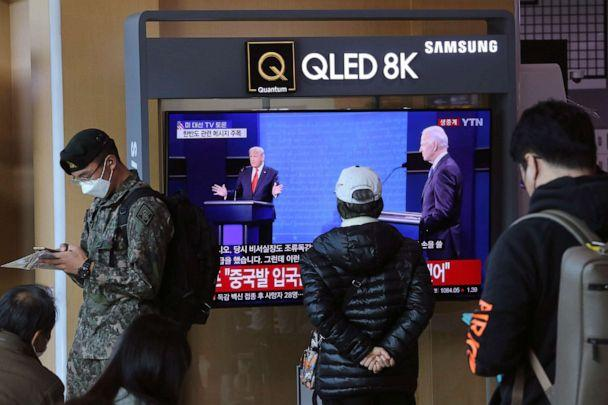 PHOTO: A TV screen shows a live broadcast of U.S. President Donald Trump and Democratic presidential candidate former Vice President Joe Biden during the final presidential debate, at the Seoul Railway Station in Seoul, Oct. 23, 2020. (Ahn Young-Joon/AP)