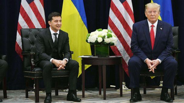 PHOTO: In this Sept. 25 ,2019, file photo, President Donald Trump and Ukrainian President Volodymyr Zelenskiy hold a meeting in New York. (Saul Loeb/AFP/Getty Images, FILE)