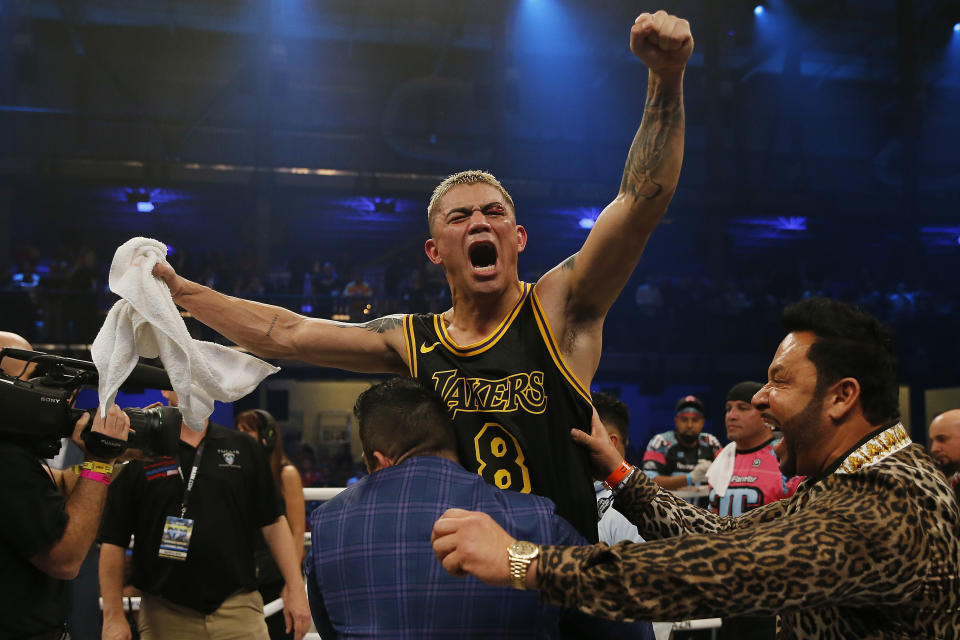 MIAMI, FLORIDA - JANUARY 30:  Joseph Diaz celebrates after defeating Tevin Farmer in a unanimous decision to win the IBF 135 World Title at Meridian at Island Gardens on January 30, 2020 in Miami, Florida. (Photo by Michael Reaves/Getty Images)
