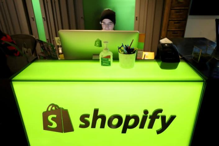FILE PHOTO: An employee works at Shopify's headquarters in Ottawa