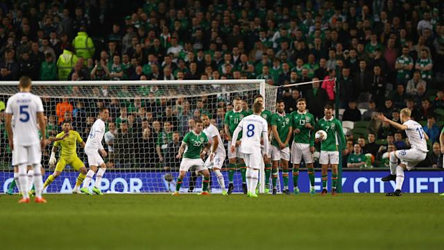 Republic of Ireland's 15-game unbeaten run at home was ended by Iceland on Tuesday, a Hordur Bjorgvin Magnusson free-kick earning a 1-0 win.